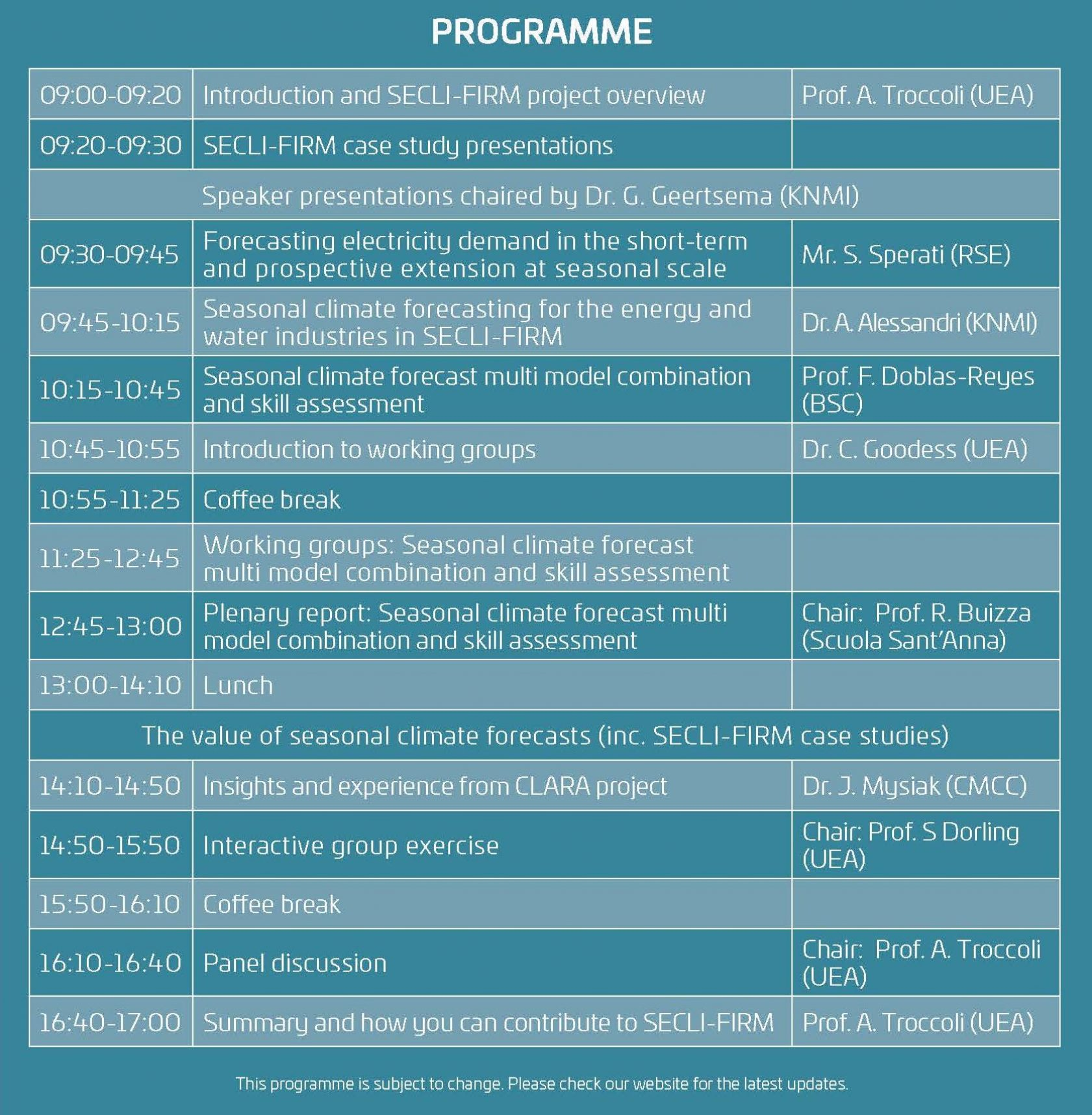 SECLI-FIRM Workshop Programme V9 FINAL 10.01.19