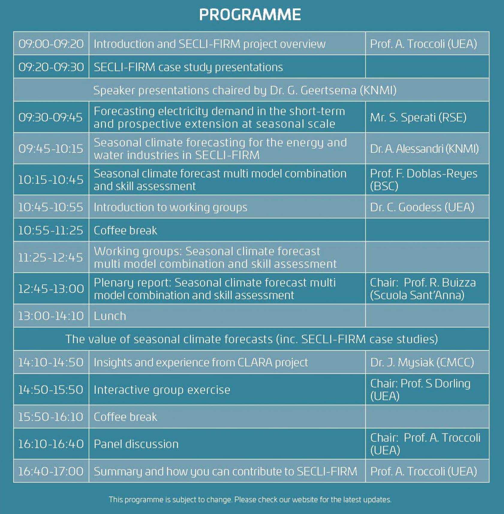SECLI-FIRM Workshop Programme V9 FINAL 10.01.19